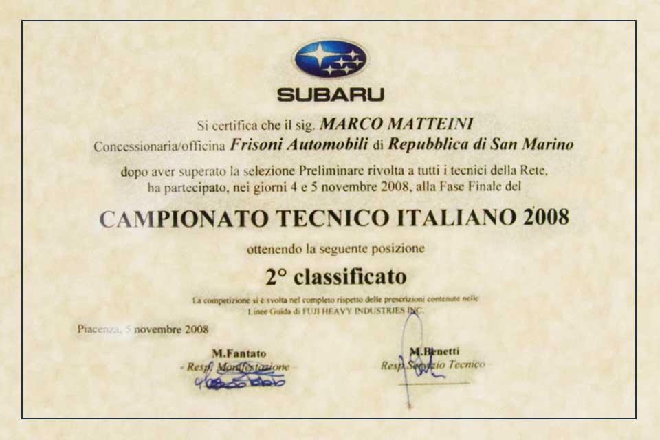 Campionato Tecnico 2008 Subaru