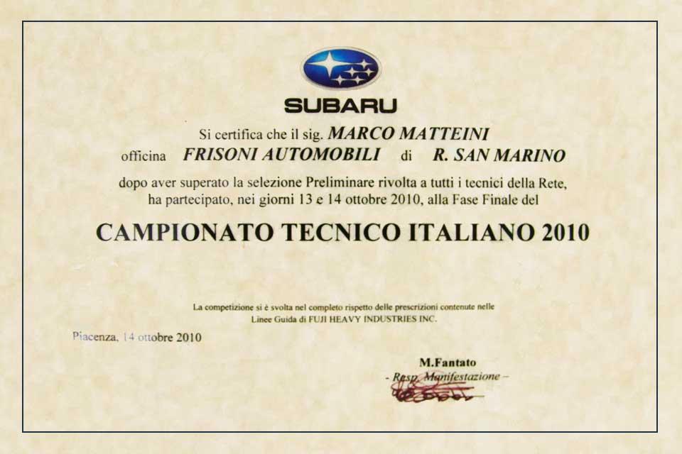 Campionato Tecnico 2010 Subaru